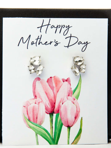 Mother's Day Jewel Earrings Pink Tulips Card