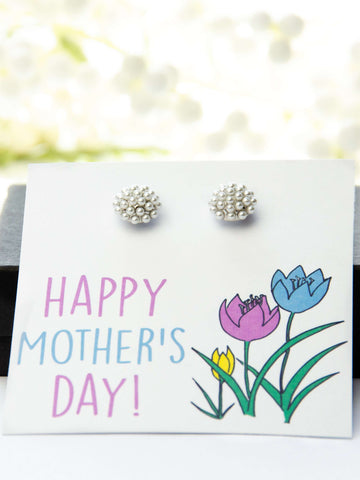 Mother's Day Pearl Earrings Tulips Card