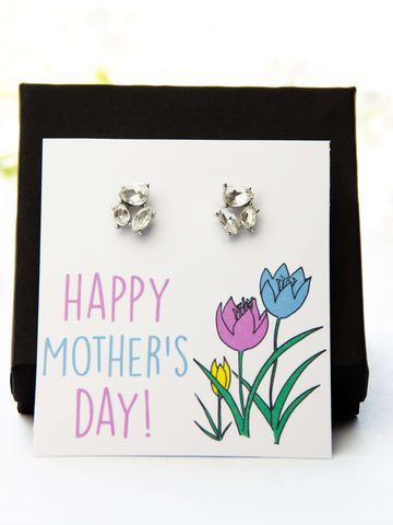 Mother's Day Jewel Earrings Tulips Card