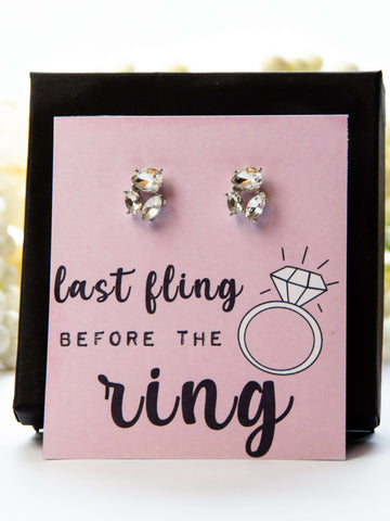 Last Fling Before The Ring Bachelorette Party Favor Jewel Earrings Gift