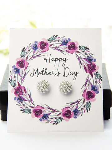 Mother's Day Pearl Earrings Purple Floral Card