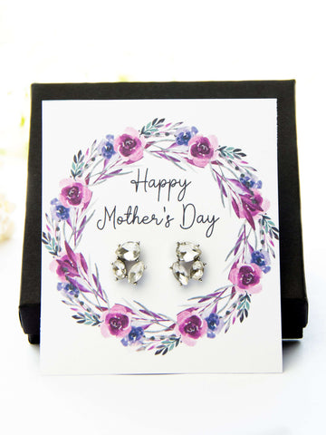 Mother's Day Jewel Earrings Purple Floral Card