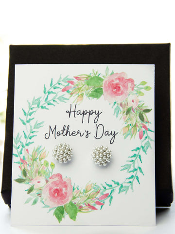 Mother's Day Pearl Earrings Floral Spring Card