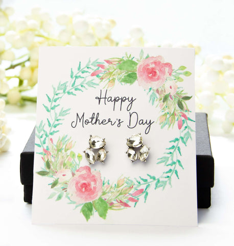 Mother's Day Jewel Earrings Floral Spring Card