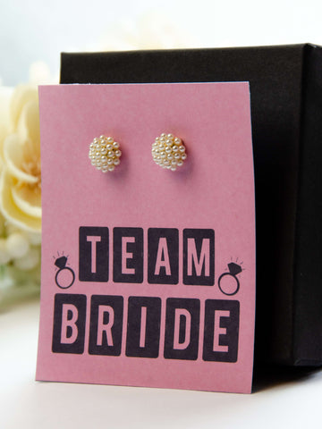 Team Bride Bachelorette Party Favor Pearl Earrings Gift