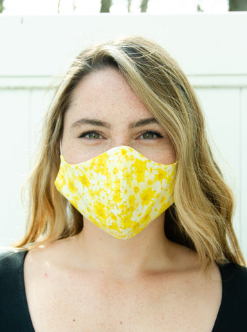 Yellow Floral Cotton Washable Adult Face Mask