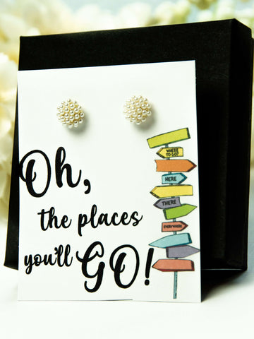 Oh the Place's You'll Go Pearl Earrings