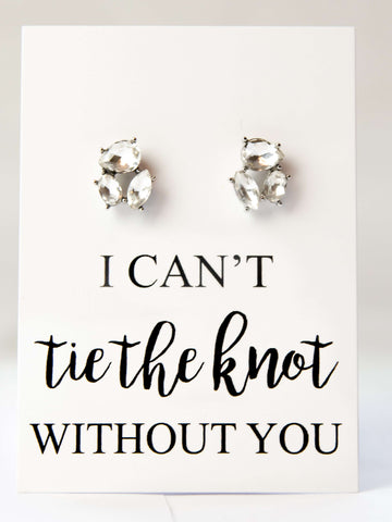 Tie The Knot Bridesmaid Proposal Jewel Earrings
