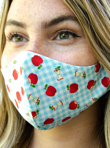 Blue Gingham Cotton Washable Adult Face Mask