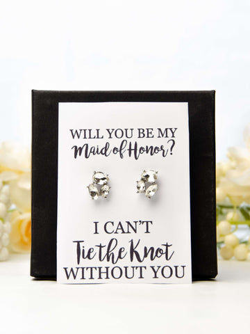 Will You Be My Maid of Honor? Bridesmaid Proposal Jewel Earrings