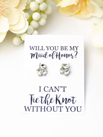 Will You Be My Maid of Honor? Proposal Jewel Earrings Gift