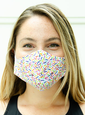 Rainbow Confetti Cotton Washable Adult Face Mask