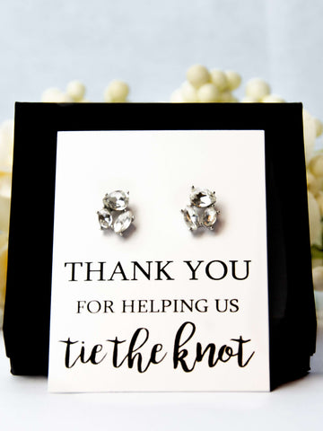 Thank You for Helping us Tie the Knot Bridesmaid Proposal Jewel Earrings