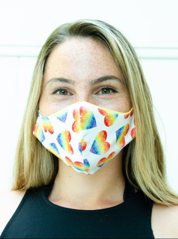Rainbow Heart Pride Cotton Washable Adult Face Mask