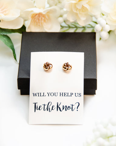 Will You Help Us Tie the Knot? Gold Proposal Knot Earrings