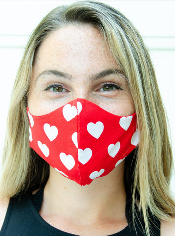 Red Hearts Cotton Washable Adult Face Mask