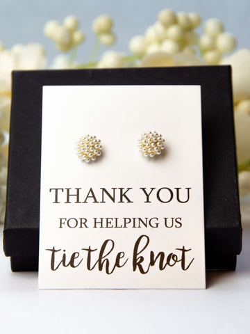 Thank You for Helping us Tie the Knot Bridesmaid Proposal Pearl Earrings