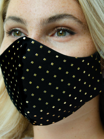 Black Gold Cotton Washable Adult Face Mask
