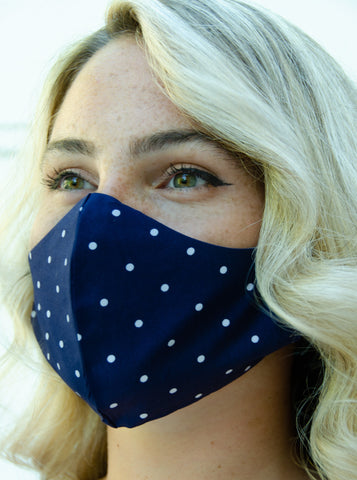 Navy Blue Nautical Polka Dots Cotton Washable Adult Face Mask