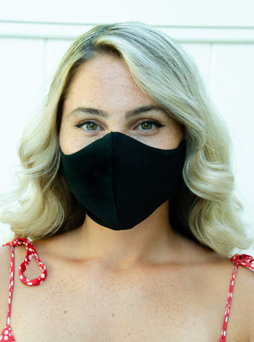 All Black Cotton Washable Adult Face Mask