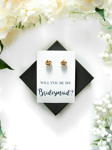 Will You Be My Bridesmaid? Gold Proposal Knot Earrings