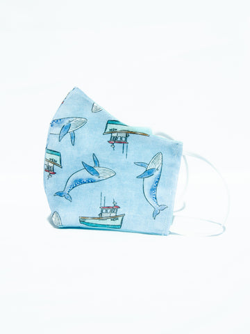 Kids Youth Blue Whales & Boats Cotton Face Mask