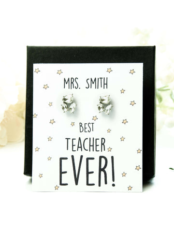 Best Teacher Ever Jewel Earrings Gift