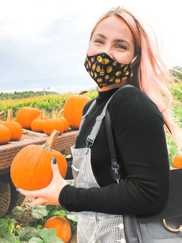 Halloween Pumpkin Adult + Youth Face Mask
