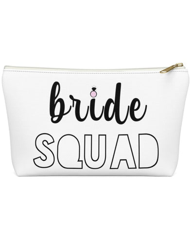 Bride Squad Bachelorette Party Favor Makeup Pouch w/T-bottom
