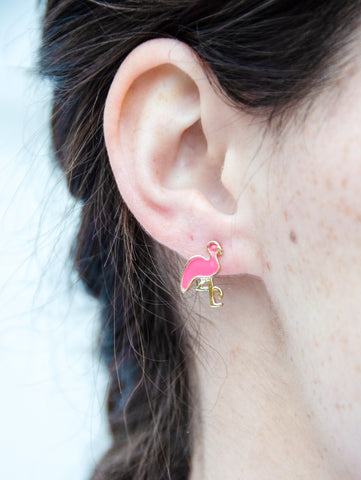 Stand Tall My Darling Pink Flamingos Earrings
