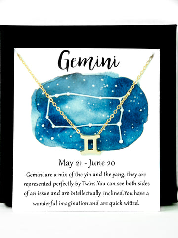 Zodiac Gemini Astrological Necklace