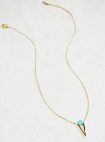 Jennifer Necklace Turquoise (14K Gold)