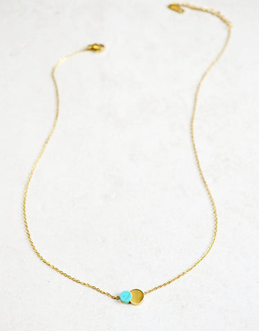 Joy Necklace Turquoise (14K Gold)