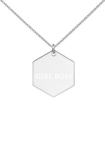 Girl Boss Engraved Sterling Silver/24K Gold/Rose Gold Hexagon Necklace