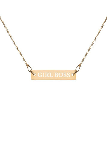 Girl Boss Engraved Sterling Silver Bar Chain Necklace