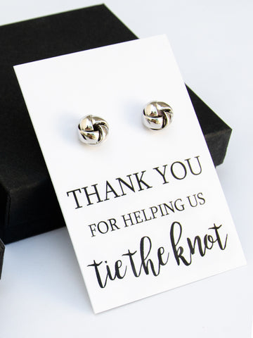 Thank You for Helping us Tie the Knot Silver Earrings