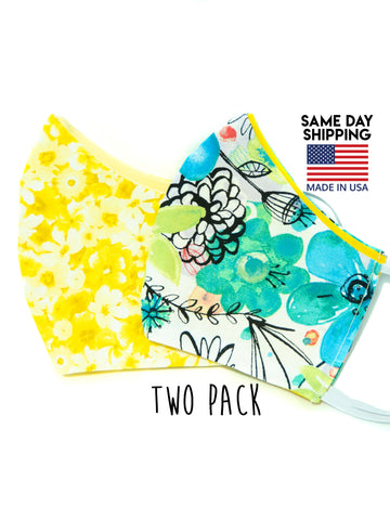 Two Pack Colorful Floral Cotton Washable Adult Face Mask