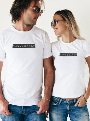 Vaccinated Unisex White T-Shirt Block Lettering