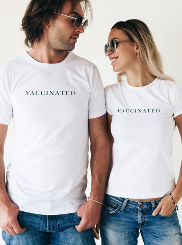 Vaccinated Unisex White T-Shirt