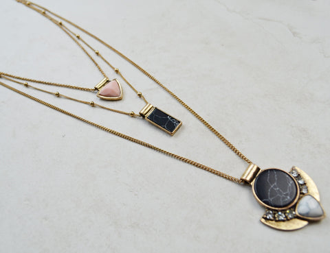 Wander This Way Layered Necklace (Gold)
