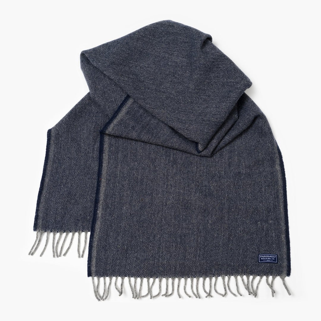 Ink Blue Ashby Twill Wool Scarf