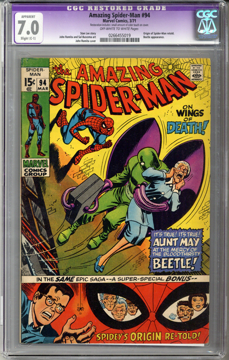 Colorado Comics - Amazing Spider-man #94  CGC 7.0  C-1 slight restoration