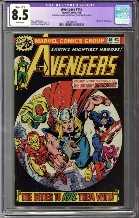 Colorado Comics - Avengers #146  CGC 8.5  C-1 slight restoration