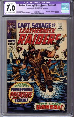 Captain Savage and his Leatherneck Raiders #1 CGC 7.0 C-1 slight restoration