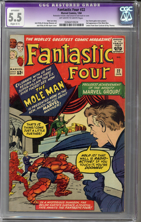 Fantastic Four #22  CGC 5.5 C-1 slight restoration