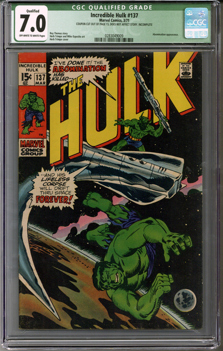 Colorado Comics - Incredible Hulk #137  CGC 7.0 Qualified