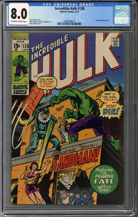 Colorado Comics - Incredible Hulk #138  CGC 8.0