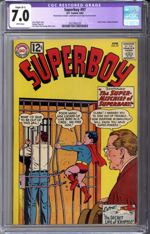 Superboy #97 CGC 7.0 B-1 slight restoration