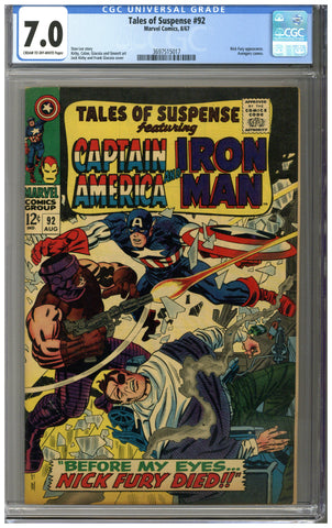 Tales of Suspense #92 CGC 7.0