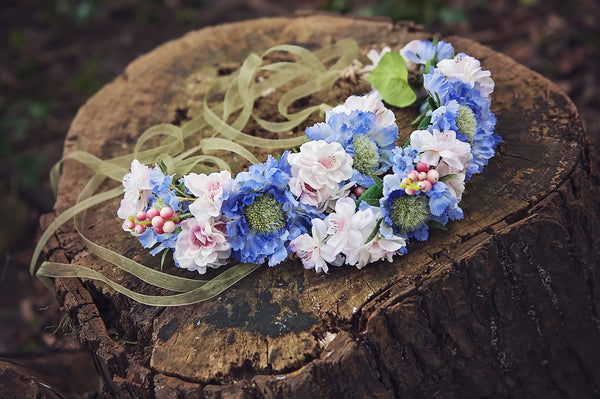 Pale blue and blush half head flowercrown